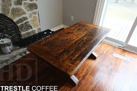 Trestle Coffee Table Trestle Style Reclaimed Wood Coffee Table Blog