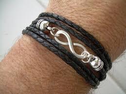 men black leather bracelet images Black braided leather bracelet infinity bracelet triple jpg