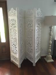 Room Divider Screens Amazon - amazon com kamal the lotus antique white 4 panel handcrafted wood