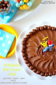 pokemon birthday cake yellow layer cake chocolate buttercream