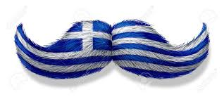 Greece Flag Colors Greek Mustache Symbol With The Flag Of Greece As An Icon Of A