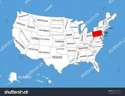 Nebraska On A Map Pennsylvania State Usa Vector Map Isolated Stock Vector 309561830