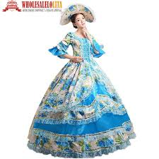 antoinette costume hot global freeshipping royal palace blue print stage