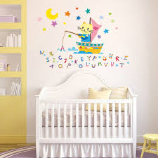 fancy fishing cat wall stickers letters characters baby education
