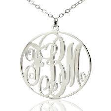circle monogram necklace solid white gold vine font circle initial monogram necklace