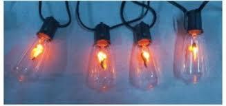 Flickering Light Bulb Halloween Set Of 10 Flickering Edison Bulb Halloween Light Set Black Wire