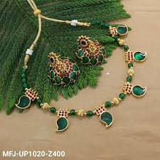 green stones necklace images Green golden colour beads with multi colour stones golden colour jpg