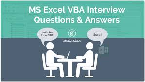 ms excel vba interview questions and answers with examples