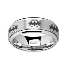 batman engagement rings spinning engraved batman logo tungsten carbide spinner wedding