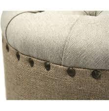 Skirted Ottoman Country Oval Tufted Linen Burlap Skirted Ottoman