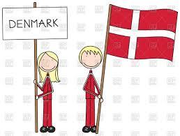 cartoon and boy holding danish flag and banner vector image