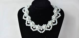 elegant white pearl necklace images How to make elegant white pearl flower statement necklace for jpg