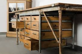Industrial Work Table by Paddle8 Industrial Work Table With Drawers American