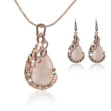 peacock design earrings in gold 2017 fashion design bridal jewelry sets gold color opal rhinestone