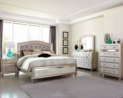 Bedroom Mirrored Furniture Celine 5 Piece Mirrored And Upholstered Tufted Queen Size Bedroom