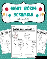 sight words scramble worksheets planning playtime