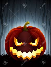 dark halloween background halloween illustration with pumpkin on dark forest background