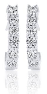hoop diamond earrings half hoop diamond earrings in 14k white gold 1 02ct