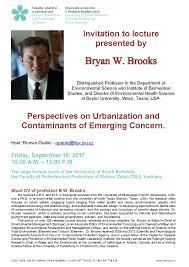 invitation to the lecture of bryan w brooks fakulta rybářství a