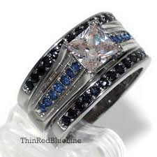 thin blue line wedding band thin blue line women s engagement ring set stainless steel cz