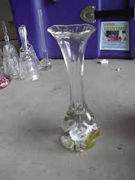 Tall Champagne Glass Vases Tall Clear Hand Blown Art Glass Vase With Flowers In Base Look Ebay