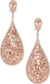 pink earrings blush pink diamond and gold earrings the earrings feature