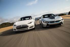 tesla model s tesla model s p90d ludicrous vs bmw i8 video