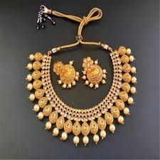 white stones necklace set images Traditional gold plated and white stone neck fit necklace set for jpg
