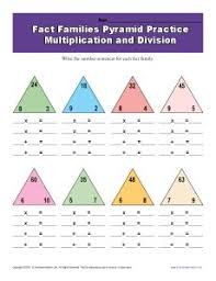 math fact families multiplication division fact family worksheets multiplication and division with pyramids