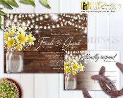 String Of Flower Lights by Country Rustic Outdoor Wedding Invitation U0026 Rsvp Card Mason Jar