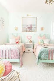 mint green metal bed and white paint color for nice bedroom ideas