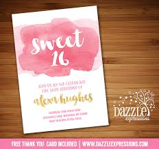 printable watercolor sweet sixteen birthday invitation 16th