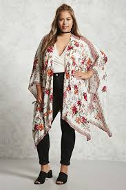 plus size floral print chiffon maxi kimono plus size beauty