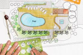 backyard plan landscape architect designs backyard plan with pool stock image
