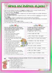 best ideas of direct and indirect object worksheets also free
