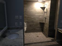 sugar land bathroom remodeling contractor toilet in shower area sugarland master bath walk in shower with downward slope from toilet