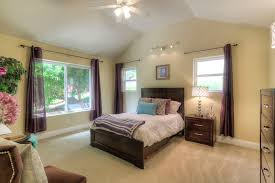 Rubbed Bronze Curtain Rod Guest Bedroom With Cathedral Ceiling U0026 Ceiling Fan In Fremont Ca