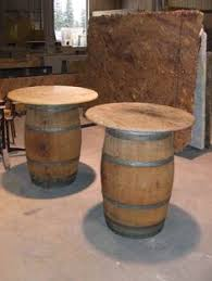 Wine Barrel Bar Table Two Barrels Topped With Wood Planks Will Create The Beverage