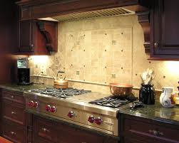 small kitchen design and decoration using light brown stone tile