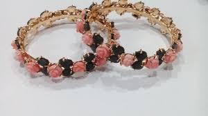 handmade flower bracelet images Pink flower jade leaf bangles made with silver gleam jewels jpg