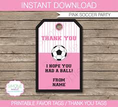 pink soccer birthday party favor tags thank you tags