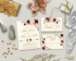 floral gold baby shower invitation printable boho baby shower