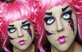 pink screepy psycho doll make up tutorial for halloween youtube
