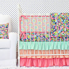 Aqua And Pink Crib Bedding by Coral Baby Bedding Coral Nursery Rail Cover Set In The City