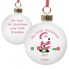 Baby S First Christmas Silver Bauble by Personalised Baby U0027s First Christmas My First Christmas Baubles