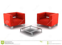 fauteuils rouges deux fauteuils rouges avec la table d isolement sur le blanc image