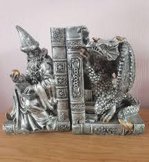 fantastic myth u0026 magic silver u0026 gold wizard u0026 peeking dragon bookends