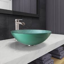 Vigo Kitchen Faucets Vigo Vgt1072 Whispering Wind Glass Vessel Bathroom Sink And Niko