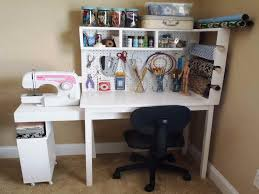 Diy Home Office Desk Plans Craft Desk Plans Doors And Open Center Storage With Shelf Hutch