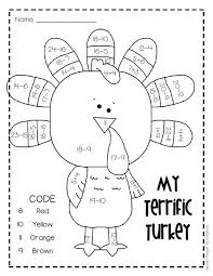 my terrific turkey free addition subtraction worksheet for